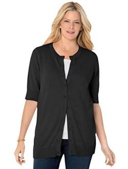 Woman Within Women's Plus Size Perfect Elbow-Length Sleeve Cardigan Sweater