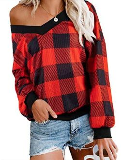 Womens Sweater Tie Dye Pullover Tops Off Shoulder Long Sleeve Bat Sleeve V Neck Loose Pullover Sweaters Top