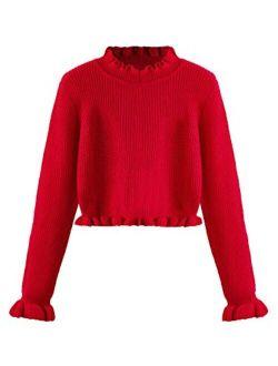 Women's Drop Shoulder Mock Neck Pullover Sweater Long Sleeve Basic Crop Sweaters
