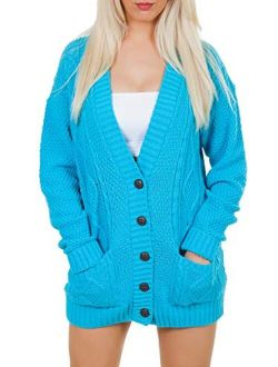 Love My Fashions Women's Cable Knitted Boyfriend Casual Acrylic Made Cardigan Size S M L XL