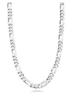 Miabella Solid 925 Sterling Silver Italian 5mm Diamond-Cut Figaro Link Chain Necklace for Women Men, 16, 18, 20, 22, 24, 26, 30 Inch Made in Italy