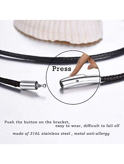 U7 2mm 3mm Black/Brown Leather Cord Necklace with Customizable Stainless Steel Clasp, Men Women Woven Wax Rope Chain for Pendant,Length 16