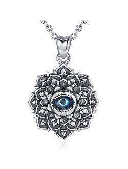 "EUDORA Sterling Silver Hamsa Necklace Good Luck Vintage Fatima Hand Evil Eye Pendant, 18"" Chain"