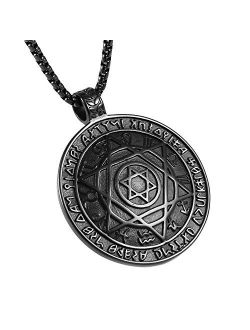 """Talisman Seal Solomon Six-pointed Star 12 Constellation Pendant Stainless Steel Necklaces 22+2"""" Chain"""