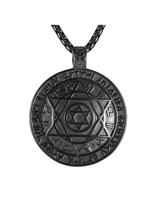 """HZMAN Talisman Seal Solomon Six-pointed Star 12 Constellation Pendant stainless steel Necklaces 22+2"""" Chain"""
