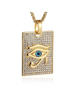 18k Gold Plated Iced Out Eye Of Horus Egypt Protection Cross Dog Tag Pendant Stainless Steel Necklace