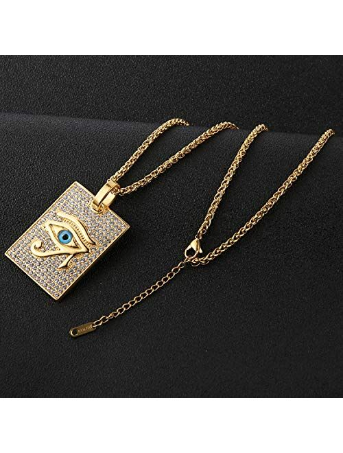 HZMAN 18k Gold Plated Iced Out Eye of Horus Egypt Protection Cross Dog Tag Pendant Stainless steel Necklace