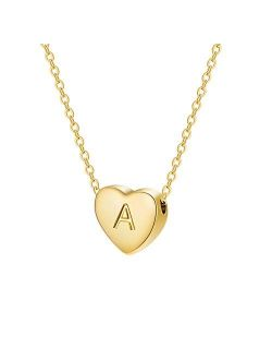 Dainty Heart Initial Necklace Letters A to Z 26 Alphabet Pendant Necklace Small Heart 14K Real Gold Plated Personalized Necklace Inspiration Gifts for Girl Women