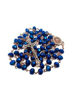 Nazareth Store Deep Blue Crystal Beads Rosary Necklace Catholic Prayer Jerusalem Holy Soil Medal Cross Holy Land Antique Religious Rosaries Beads Collection