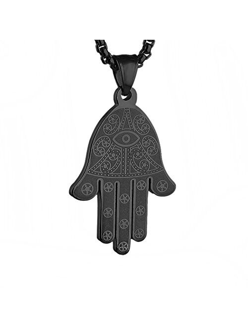 HZMAN Stainless Steel Egyptian Eye Fatima Hamsa Hand Pendant Necklace Success and Protection Lucky