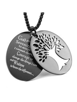 """Two Piece Serenity Prayer Stainless Steel Pendant Necklace With Tree Of Life Cut Out 22+2"""" Chain"""
