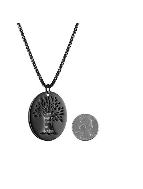 """HZMAN Two Piece Serenity Prayer Stainless Steel Pendant Necklace with Tree of Life Cut Out 22+2"""" Chain"""