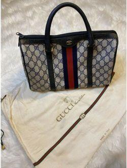 Ge Rare Auth Gucci Gg Navy Blue Canvas Leather Boston Speedy Satchel Bag