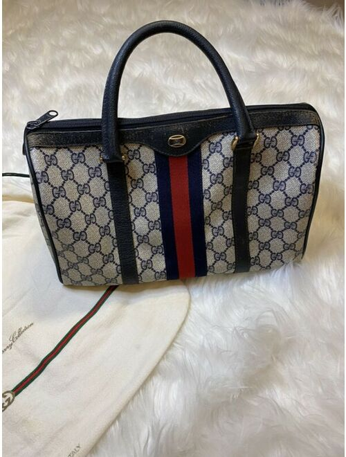 VINTAGE RARE Auth Gucci GG Navy Blue Canvas Leather Boston Speedy Satchel Bag