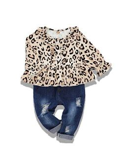 NZRVAWS Toddler Girl Clothes Long Sleeve Ruffle T-Shirt Yellow Top Denim Pants Ripped Jeans 2PCS Outfits Set
