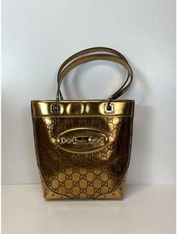 Vtg Gucci Gold Gg Monogram Leather Bag