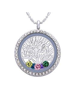 Birthstone Family Tree of Life Necklace, Floating Charm Living Memory Locket with 24 Birthstone & 2 Family Tree Plate DIY Pendant Gifts