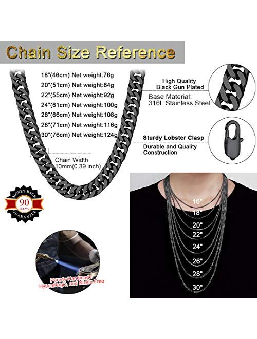 """ChainsHouse Miami Cuban Link Necklace 4mm/5mm/7mm/10mm/13.5mm Wide Stainless Steel/18K Gold Plated Curb Chains for Men Women, 18""""-30"""", Send Gift Box"""