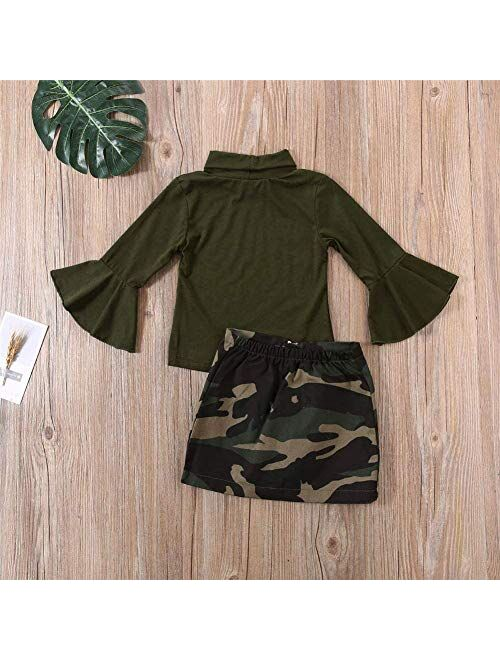 Toddler Baby Girls Leopard Long Sleeve T-Shirt Tops + Yellow Mini Pencil Skirts Outfit Fall Winter Clothes Set