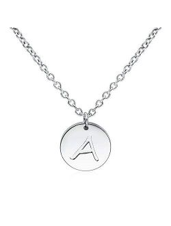 THREE KEYS JEWELRY Initial Necklaces Silver Gold Tone 10mm 0.4 Inches 16mm 0.63 Inches Tiny Disc Alphabet Pendant Stainless Steel Initial Necklace for Women Girls