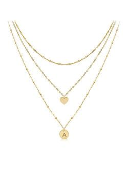 Dainty Layered Initial Choker Necklaces Handmade 14K Gold Plated Personalized Letter Name Disc Heart Pendant Adjustable Layering Gold Chain Necklaces for Women Girls Gift
