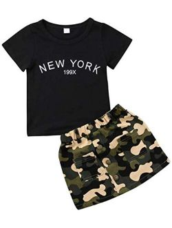 Toddler Baby Girls Camouflage Outfit Black Letter Tops T-Shirt + Skirt Dress Shorts Summer Two Piece Clothes Set