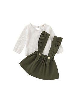 Little Girls Two Piece Clothes Set Good Kids Fall School Oufits Ruffles Clean White Shirt Buttons A-line Skirt