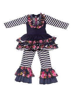 Girls Boutique Clothing Autumn Winter Spring Ruffle Dress Pants Outfits