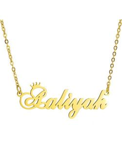 Name Crown Necklace,Personalized Custom Women Girls Initial Letter Crown Name Pendant Necklace Stainless Steel Necklace Chain Jewelry Gift