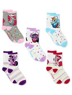 Girls 5 Pack Crew Socks (shoe: 10-4 (sock: 6-8) White/multi Crew)