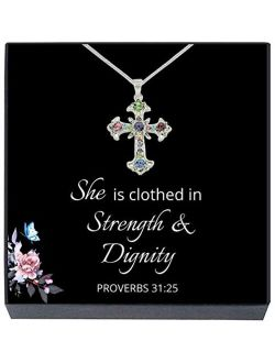 SheridanStar Cross Pendant Necklace, Easter Basket Gifts, Religious Christian Jewelry Gifts for Girls, Teens, Women