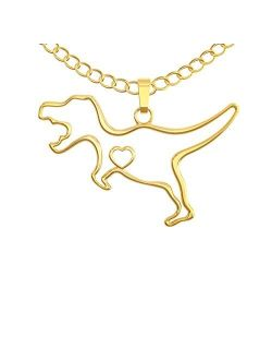 Happy Kisses Dinosaur T-Rex Necklace - Cute Pendant Gift - Sweet and Funny Message Card