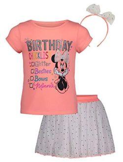 Toddler Girls Minnie Frozen Little Mermaid T-shirt, Skirt & Headband Set