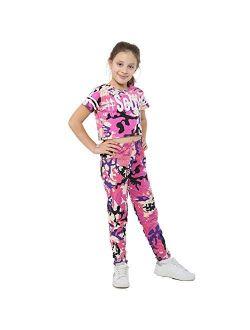 Girls Tops Kids Designer's Camouflage Print Trendy Crop Top Legging Set 7-13 Yr