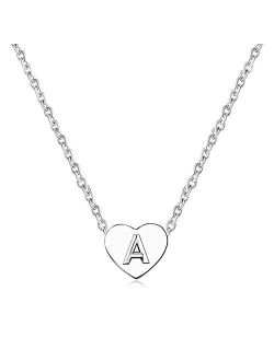 MiniJewelry Women Girls Silver Tiny Love Heart Initial Letter Necklace Alphabet A-Z Personalized Name Pendant Choker Necklaces