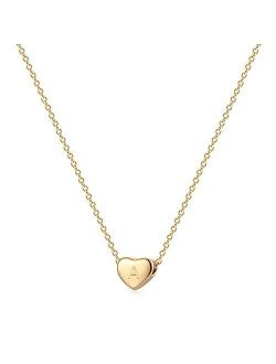 Tiny Gold Initial Heart Necklace, 14k Gold Filled Delicate Cute Dainty Charm Initial Alphabet Letter Love Heart Choker Necklaces Best Jewelry gift