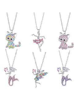 6 Pcs Cute Necklaces for Girls Kids Birthday Gift Pack-Cat Pendant Necklace for Teen Girls-Fairy Necklace for Little Girls-Mermaid Necklace for Girls-Tooth Fairy Gifts fo
