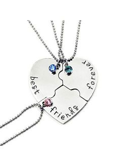 SIVITE Best Friends Forever and Ever Necklace with Crystal Broken Heart Charm Pendant Set Friendship Necklace