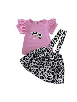 Toddler Baby Girl Ruffled Fly Sleeve Cow Top Shirts + Leopard Suspender Skirts Overall Dress Clothes