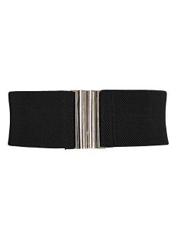 Wide Stretchy Vintage Waist Belt With Metal Buckle Muticolored Cl409