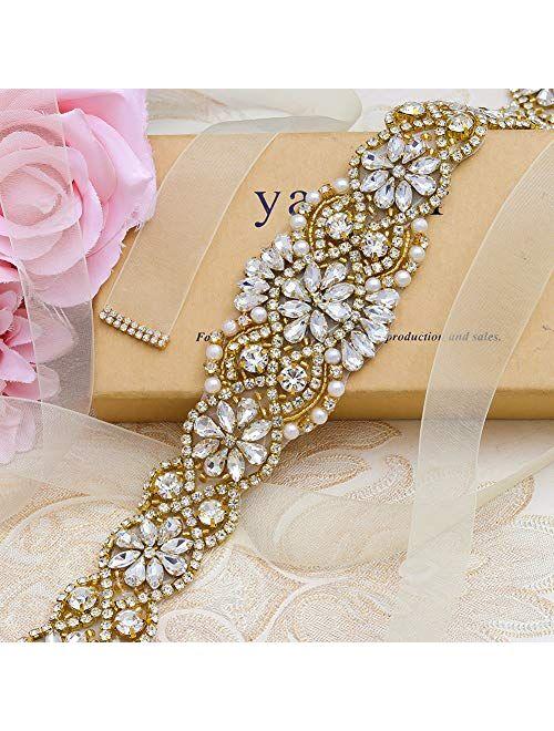 Yanstar Bridal Belt Hand Rhinestone Wedding Belt Clear Crystal 22In Length with White Organza Ribbon for Wedding Dress