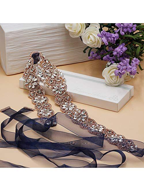 """ForeverBird 2021 New 22"""" Long Bridal Rhinestone Wedding Belts Crystal Wedding Dress Sashes and Belt"""