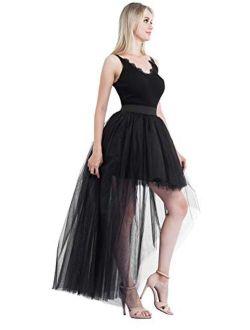 Bellady Women's High Low Mesh Net Lace Overlay Maxi Skirt