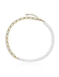 Une Douce Gold Choker Necklaces for Women, Chunky Gold Chain Link Necklaces, Dainty Chain Link Necklaces with Pearls, 90s Rhinestones Link Chain Choker, Trendy for Jewelr