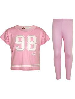 Girls Top Kids 98 Print Stylish Crop Top & Fashion Legging Set Age 5-13 Years