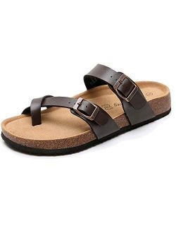 Men's Arizona Footbed Slide Sandals - Comfort Slip on Cork Sandals with Adjustable Buckle Straps for Summer, Indoor and Outdoor Slip on Sandals
