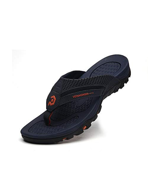Pulltop Men's Flip Flop with Wide Strap, Non-Slip Sandals Slides Mens Summer Beach House Slippers, Waterproof Bathroom Shower Shoes for Men