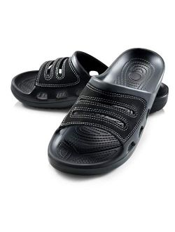 Roxoni Slide Sandals for Men | Open Toe Slip-On | Waterproof Rubber for Beach, Pool, Gym, Travel Wear