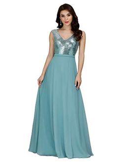 Women's V-neck Sequin Dress Patchwork Evening Party Maxi Dress 0962