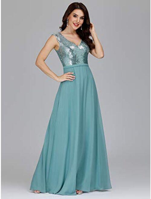 Ever-Pretty Women's V-Neck Sequin Dress Patchwork Evening Party Maxi Dress 0962